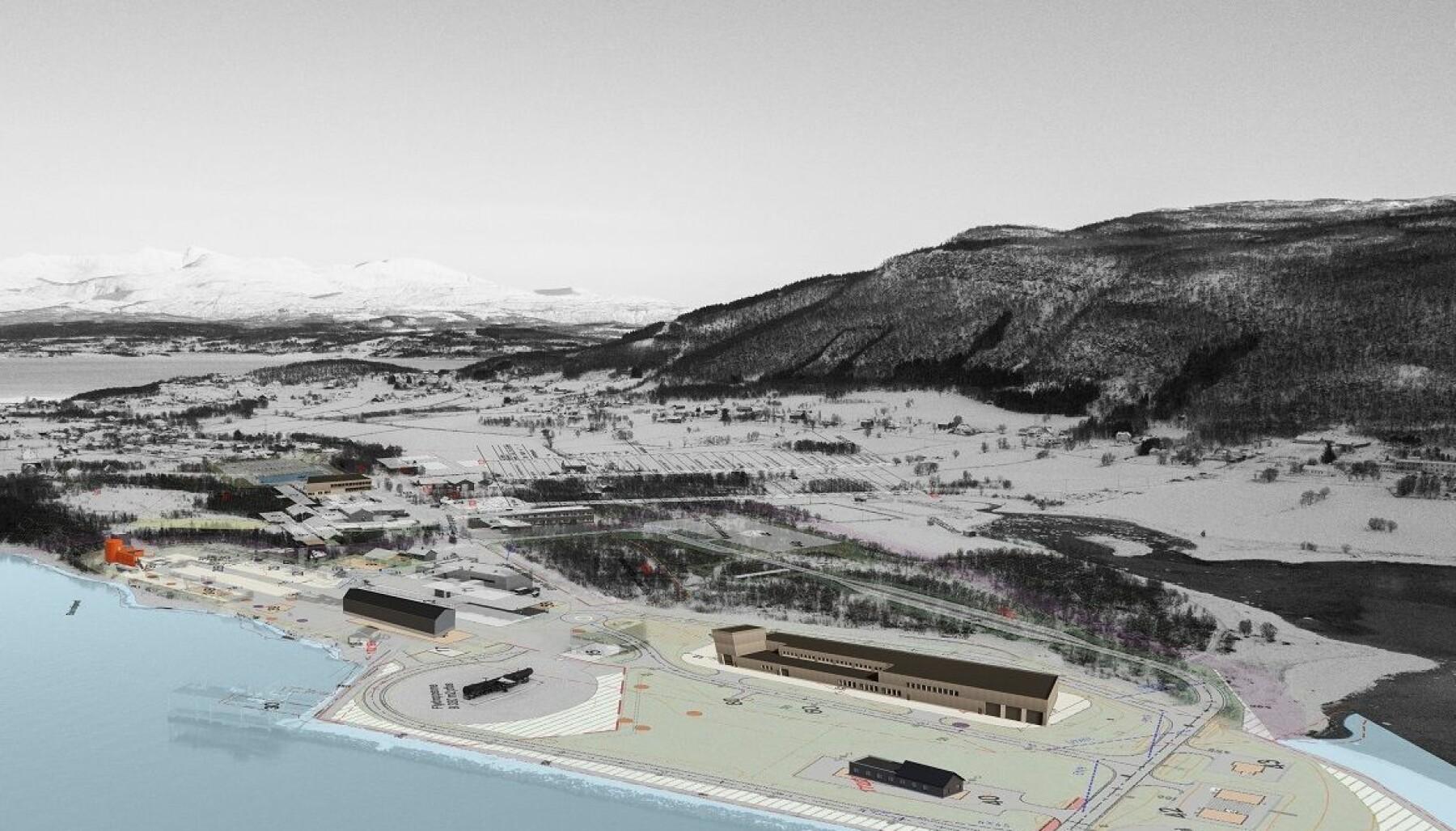 Skisse for det nye området med fagskole, brannstasjon og øvingsfelt.