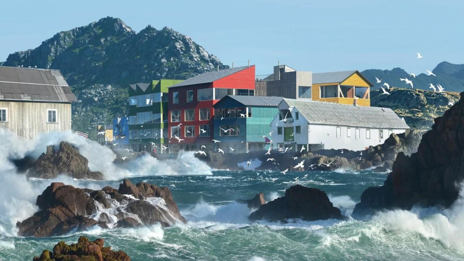 Slik ser arkitektene i Snøhetta for seg hotellet på Nyksund Fryseri.