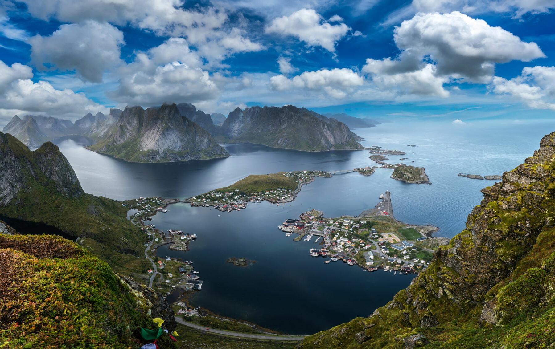 Scenic View from Reinebringen Mountain in Lofoten, Norway