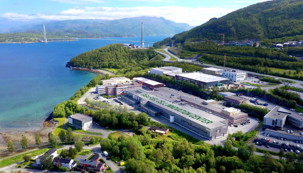 Teco 2030 vil etablere hydrogenfabrikk for brenselsceller i Narvik. Her er den gamle Rec-hallen, for anledning med en manipulert skrift på taket.