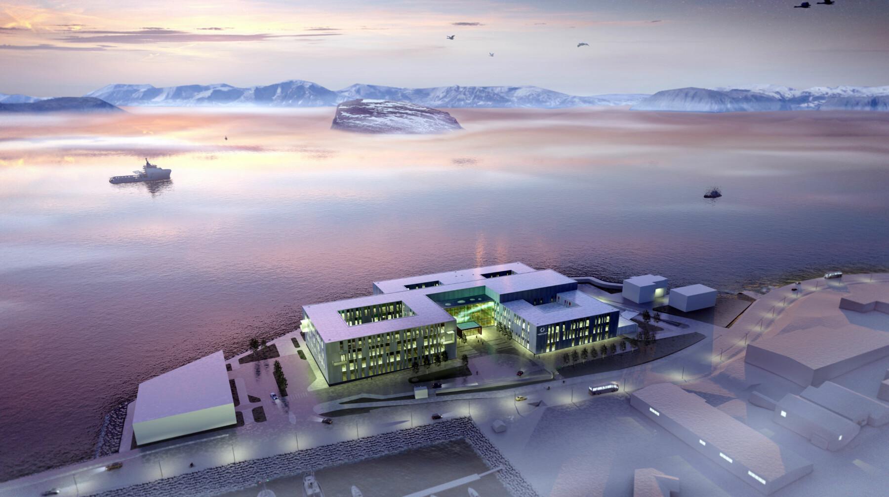 Slik blir nye Hammerfest sykehus, som åpner for prøvedrift høsten 2024 og full drift året etter.